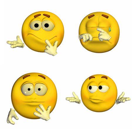 Illustration von einem Rudel von vier 4 Emoticons Smileys mit verschiedenen Posen und Ausdrücke isoliert auf weißem Hintergrund