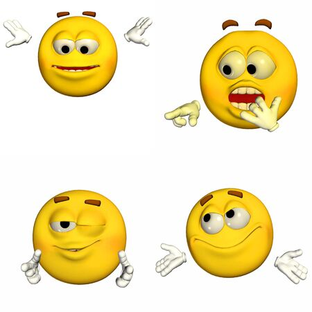Illustration of a pack of four  4  emoticons   smileys with different poses and expressions isolated on a white background illustration