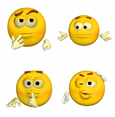 Illustration of a pack of four  4  emoticons   smileys with different poses and expressions isolated on a white background