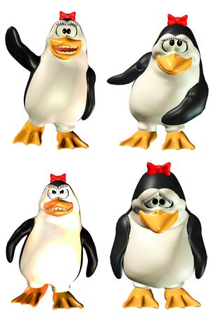 enraged: Illustration of a pack of four  4  female penguins with different poses and expressions isolated on a white background