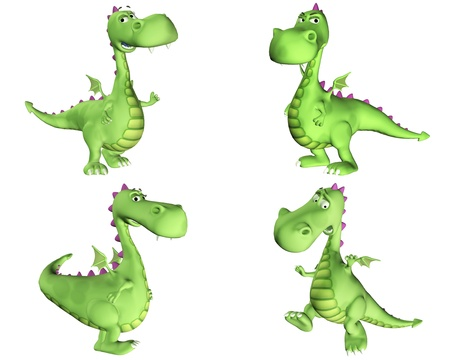 Illustration of a pack of four  4  green dragons with different poses and expressions isolated on a white background - 1of3 illustration