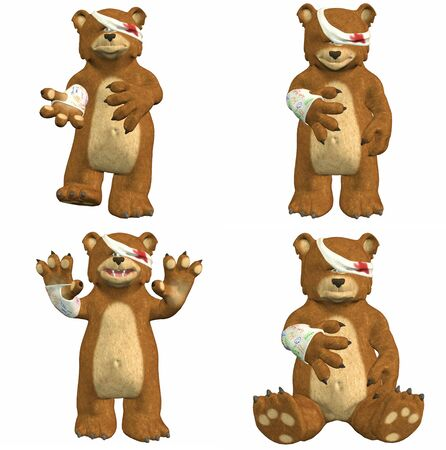 Illustration of a pack of four  4  wounded bears with different poses and expressions isolated on a white background illustration