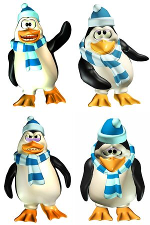 Illustration of a pack of four  4  male penguins with different poses and expressions isolated on a white background illustration
