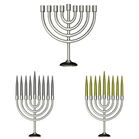 jews: Illustration of a pack of three  3  different menorahs isolated on a white background Stock Photo