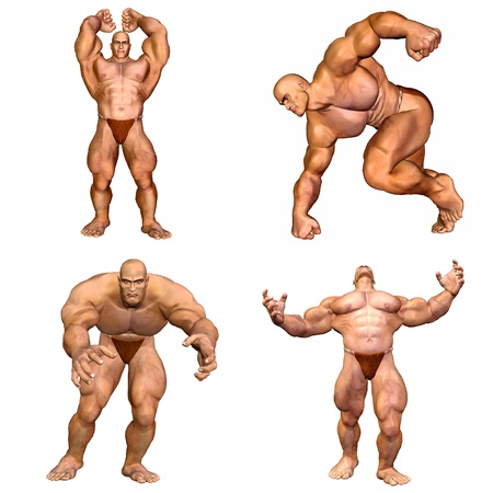 Illustration of a pack of four  4  muscular men with different poses and expressions isolated on a white background - 2of2