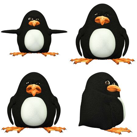 Illustration of a pack of four  4  penguins with different poses and expressions isolated on a white background illustration