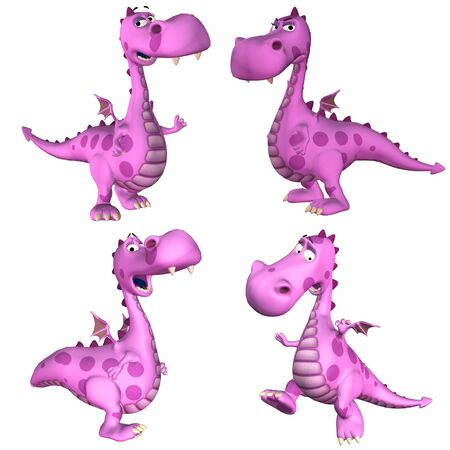 Illustration of a pack of four  4  pink female dragons with different poses and expressions isolated on a white background - 1of3 illustration