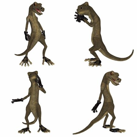 scamp: Illustration of a pack of four  4  salamanders with different poses and expressions isolated on a white background