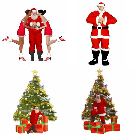 Illustration of a pack of four  4  Santa Claus with christmas tree, presents and friends isolated on a white background - 2of2 illustration