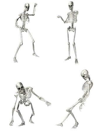 Illustration of a pack of four  4  skeletons with different poses isolated on a white background - 1of2 Stock Photo