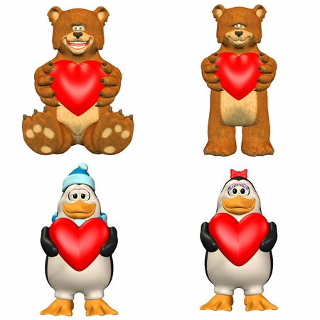 Illustration of a pack of four  4  cartoon characters holding a heart isolated on a white background - 1of3 Stock Illustration - 13641126
