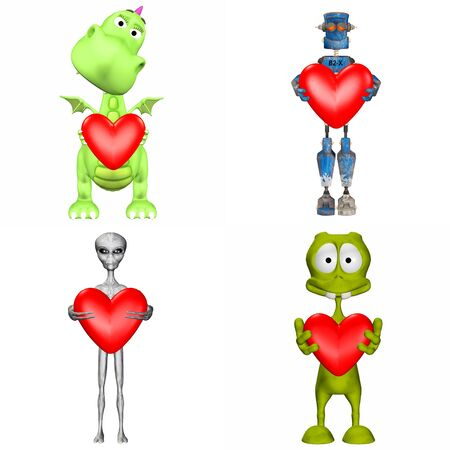 rendered: Illustration of a pack of four  4  cartoon characters holding a heart isolated on a white background - 2of3