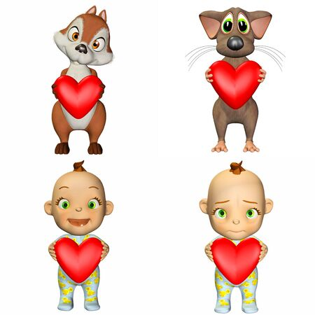 Illustration of a pack of four  4  cartoon characters holding a heart isolated on a white background - 3of3 Stock Illustration - 13641124