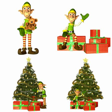 Illustration of a pack of four  4  christmas elves with different poses and expressions with trees and presents on a white background illustration