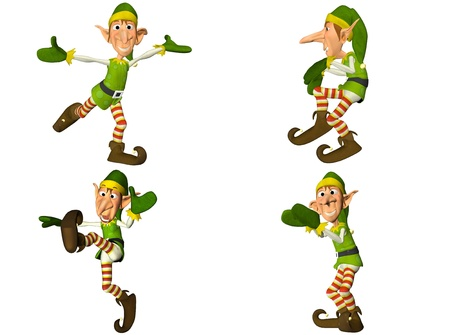 christmas costume: Illustration of a pack of four  4  christmas elves with different poses and expressions isolated on a white background - 2of2