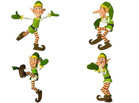 elfos navideÑos: Ilustración de un paquete de cuatro 4 elfos de Navidad con diferentes poses y expresiones aisladas sobre un fondo blanco - 2of2