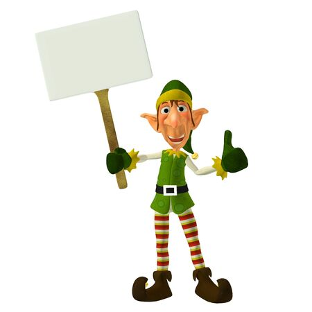 elf hat: Illustration of a christmas elf holding a sign isolated on a white background Stock Photo