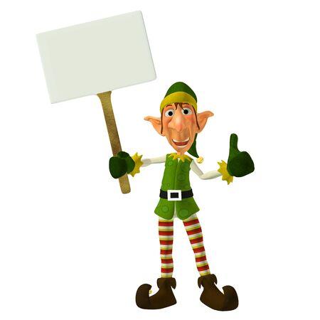 elfos navideÑos: Ilustración de un duende de la Navidad con un cartel aislado en un fondo blanco