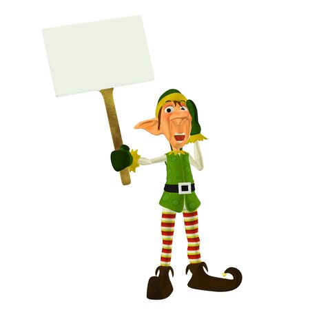 Illustration of a christmas elf holding a sign isolated on a white background Stock Photo