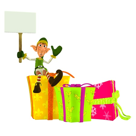 Illustration of a christmas elf sitting on presents holding a sign isolated on a white background illustration