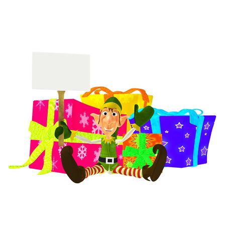 santa s elf: Illustration of a christmas elf sitting on floor with presents holding a sign isolated on a white background Stock Photo