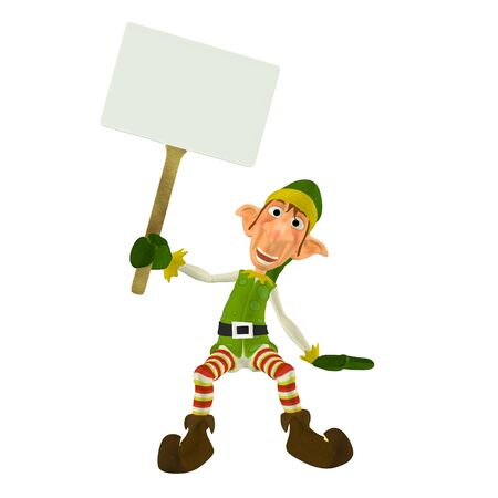 goblin: Illustration of a christmas elf holding a sign isolated on a white background Stock Photo