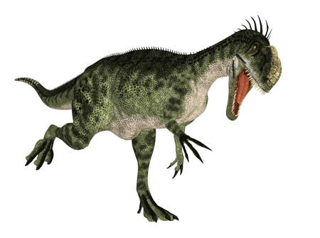 Illustration of a Monolophosaurus  dinosaur species  isolated on a white background Stock Photo