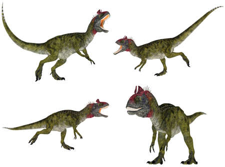epoch: Illustration of a pack of four  4  Cryolophosaurus with different poses isolated on a white background