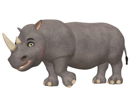 Illustratie van een gelukkige neushoorn geïsoleerd op een witte achtergrond