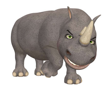 rhino: Illustration of an angry rhinoceros isolated on a white background Stock Photo
