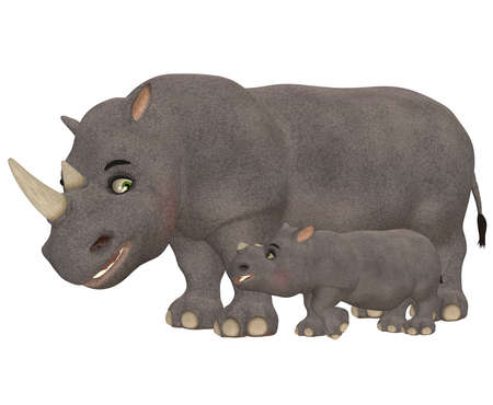 Illustration of a happy rhinoceros family isolated on a white background Stock Illustration - 14105521