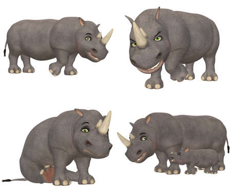Illustration of a pack of four  4  rhinoceros with different poses and expressions isolated on a white background illustration