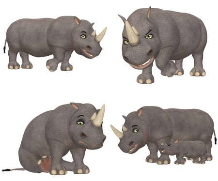 Ilustraci�n de un paquete de cuatro 4 rinoceronte con diferentes poses y expresiones aisladas sobre un fondo blanco photo