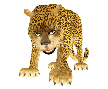 Illustration of an angry leopard isolated on a white background illustration