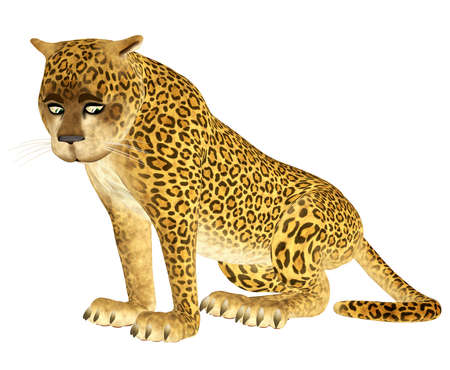 Illustration of a sad leopard isolated on a white background illustration