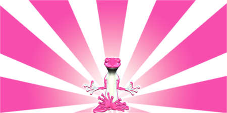 sunrays: Illustration of a meditating pink lizard glowing in front of a starburst background Stock Photo