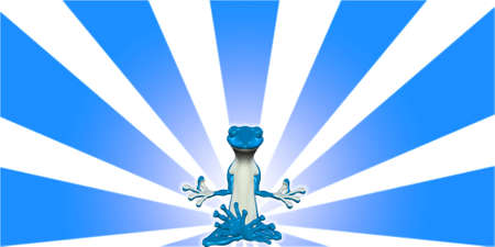deep thought: Illustration of a meditating blue lizard glowing in front of a starburst background