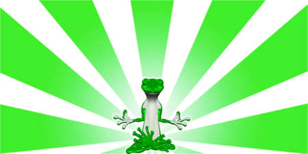 blissful: Illustration of a meditating green lizard glowing in front of a starburst background Stock Photo