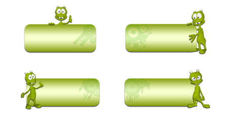 sci: Illustration of a pack of four  4  different green aliens in front of a blank banners on a white background Stock Photo