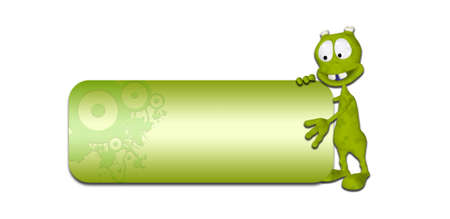 Illustration of a green alien in front of a blank green banner on a white background Stock Illustration - 14254461