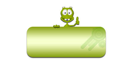 thumbs up sign: Illustration of a green alien in front of a blank green banner on a white background