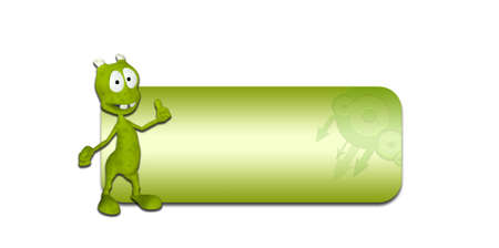 Illustration of a green alien in front of a blank green banner on a white background Stock Illustration - 14245015