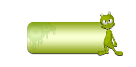 goofy: Illustration of a green alien in front of a blank green banner on a white background