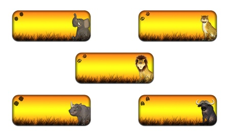 Illustration of a pack of four  4  different safari themed banners headers on a white background Stock Illustration - 14326260