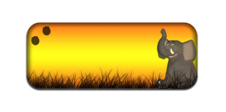 Illustration of a safari themed banner header with a cartoon elephant on a white background Stock Illustration - 14326257