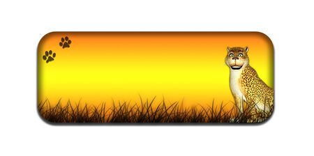 Illustration of a safari themed banner header with a cartoon leopard on a white background Stock Illustration - 14326259