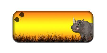 huellas de animales: Ilustración de un banner de cabecera de safari con temas con un rinoceronte de dibujos animados sobre un fondo blanco