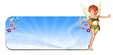 fairytale character: Illustration of a fairy in front of a bluw winter themed header banner on a white background