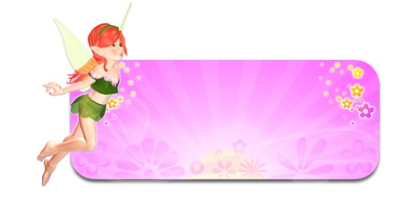Illustration of a fairy in front of a pink spring themed header banner on a white background Stock Illustration - 14326261