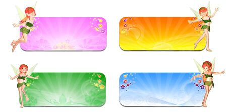 Illustration of a pack of four faeries in front of banners headers with the four seasons  spring, summer, autumn and winter  on a white background Stock Illustration - 14326265
